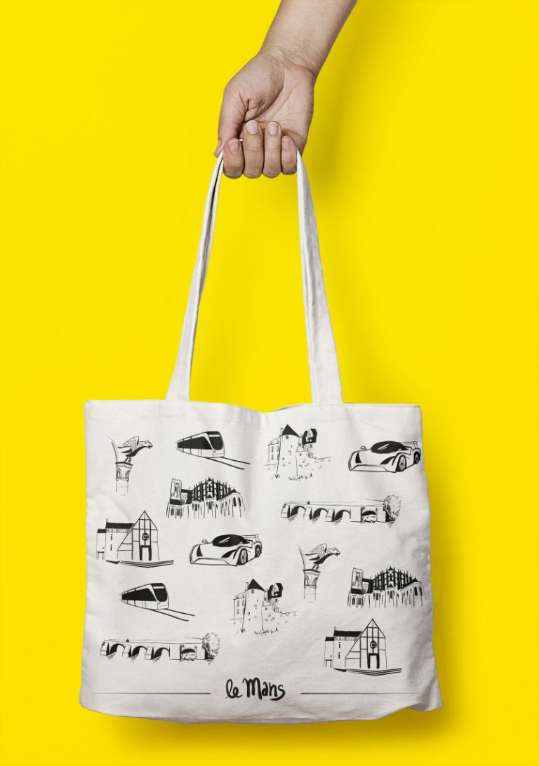 sac-ville-totebag-lemans-dessin-encre-pinceau-cathedrale-monochrome-illustration-goodies
