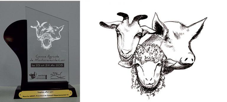 trophée-gravure-dessin-noir-crayon-animaux-agriculture-comice