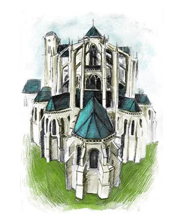 cathedrale-vitraux-tourisme-lemans-illustration-dessin-saint-julien-eglise-peinture-aquarelle-sarthe