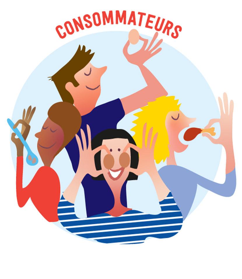 consommateurs-communaute-ecorce-graphique-illustration